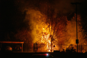 Fire Burns Behind Timpview High School